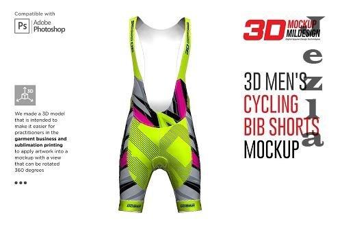 CreativeMarket - 3D Men's Cycling Bib Short Mockup 5528680