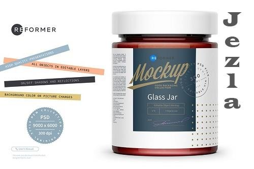 CreativeMarket - Glass Jar with Strawberry Jam Mockup 5529606