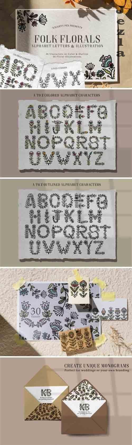 Folk Floral Alphabet Letters and Illustration - 1082438