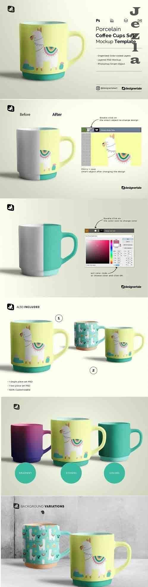 CreativeMarket - Porcelain Coffee Cups Set Mockup 5188654