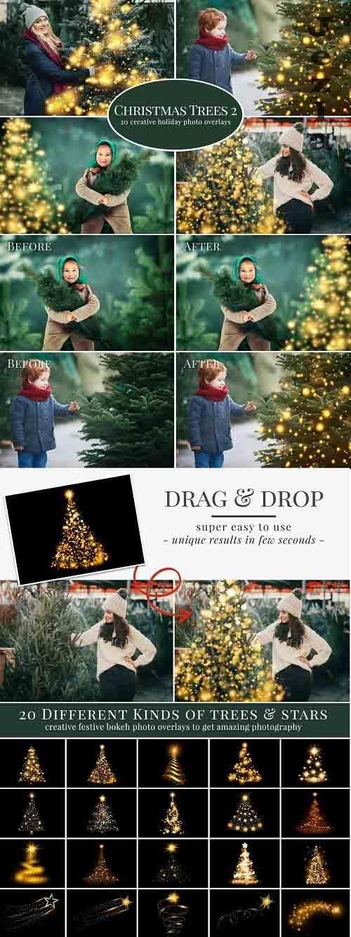 CreativeMarket - Christmas Trees photo overlays 5636334