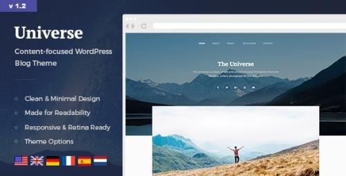 ThemeForest - Universe v1.2.2 - Clean & Minimal WordPress Blog Theme - 19761647