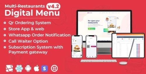 CodeCanyon - Chef v4.2 - Multi-restaurant Saas - Contact less Digital Menu Admin Panel with - React Native App - 27975356