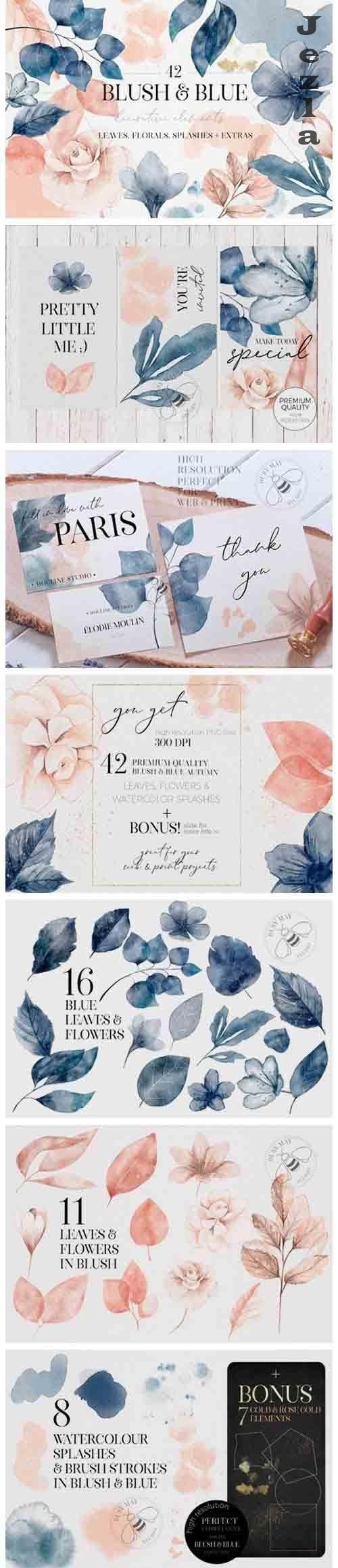 Blush and Blue Leaves Florals Watercolor Splashes Plus Bonus - 1016634