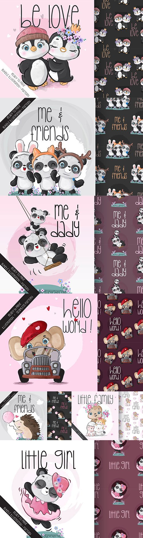 Cute cartoon animals and seamless background 25