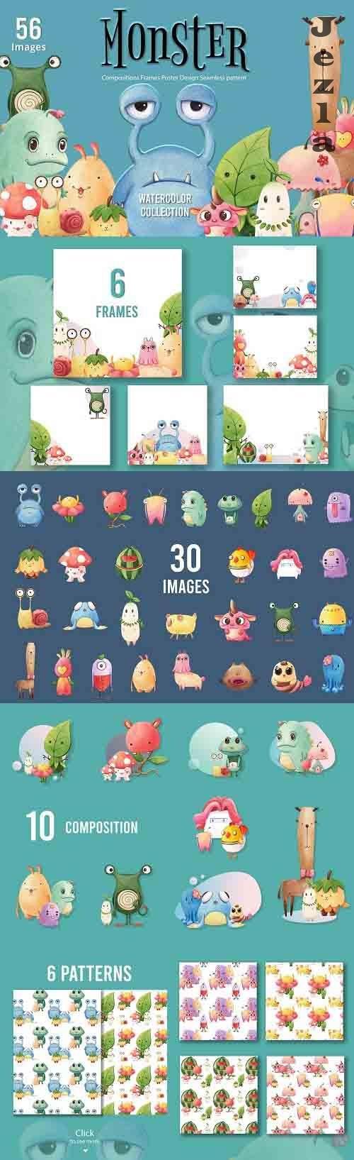 Monsters Watercolor - 5671748