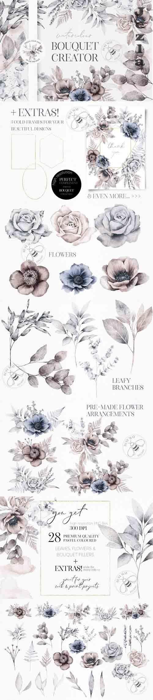 Watercolor Bouquet Flower Arrangement Wedding Creator Unique - 1049527