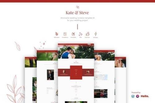 ThemeForest - Kate & Steve v1.1.1 - Wedding Invitation Elementor Template Kit - 29604557