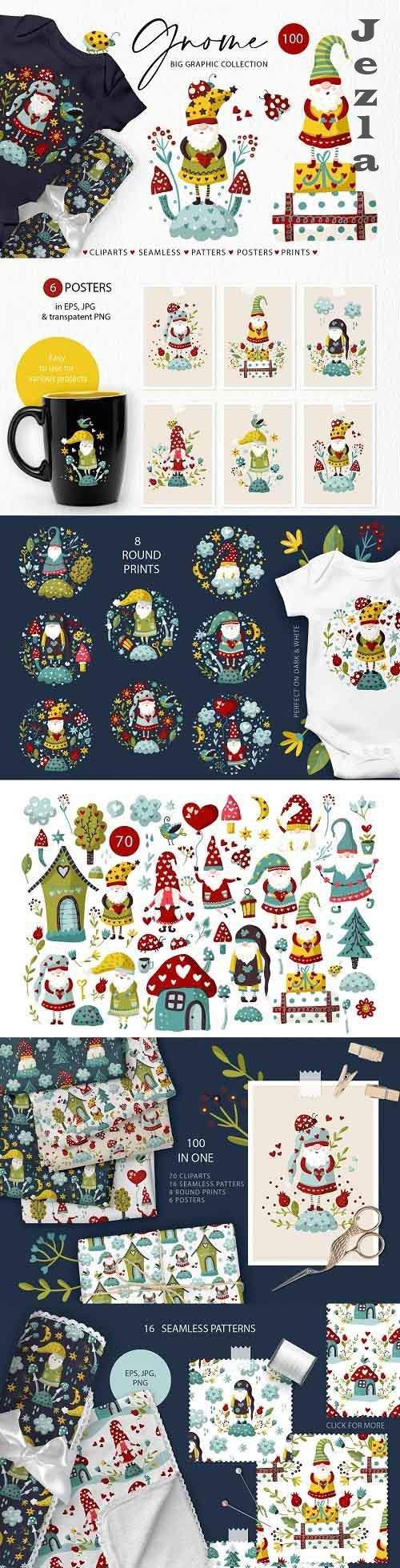 Gnome clipart set. Kids graphics - 5678094