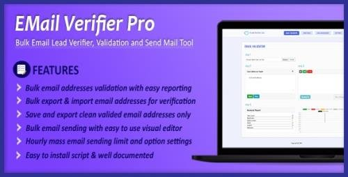 CodeCanyon - Email Verifier Pro v2.3 - Bulk Email Addresses Validation, Mail Sender & Email Lead Management Tool - 24407503 - NULLED