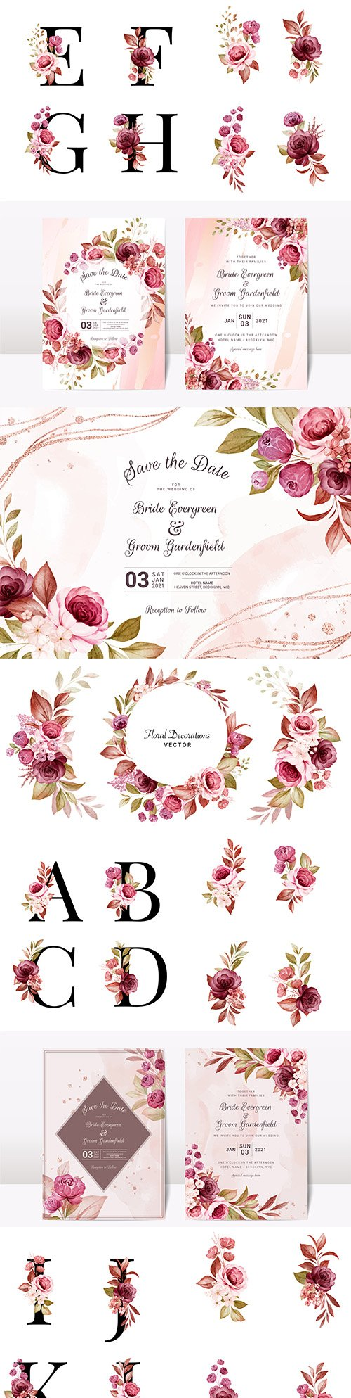 Floral wedding invitation template with letters and elegant roses