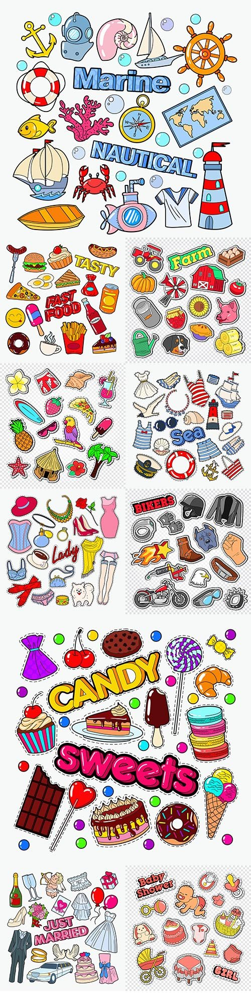 Food and objects drawn cartoon stickers for printing