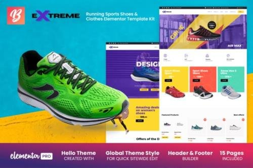 ThemeForest - Extreme v1.0.0 - Running Sports Shoes & Clothes Elementor Template Kit - 29653251