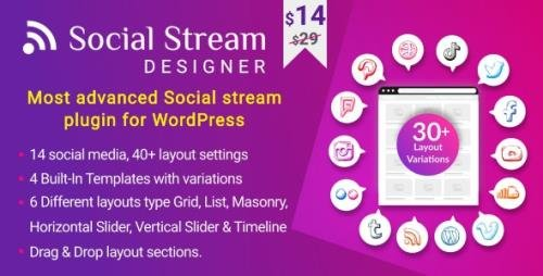 CodeCanyon - Social Stream Designer v1.1.3 - Instagram Facebook Twitter Feed - Social media Feed Grid Gallery Plugin - 26344658
