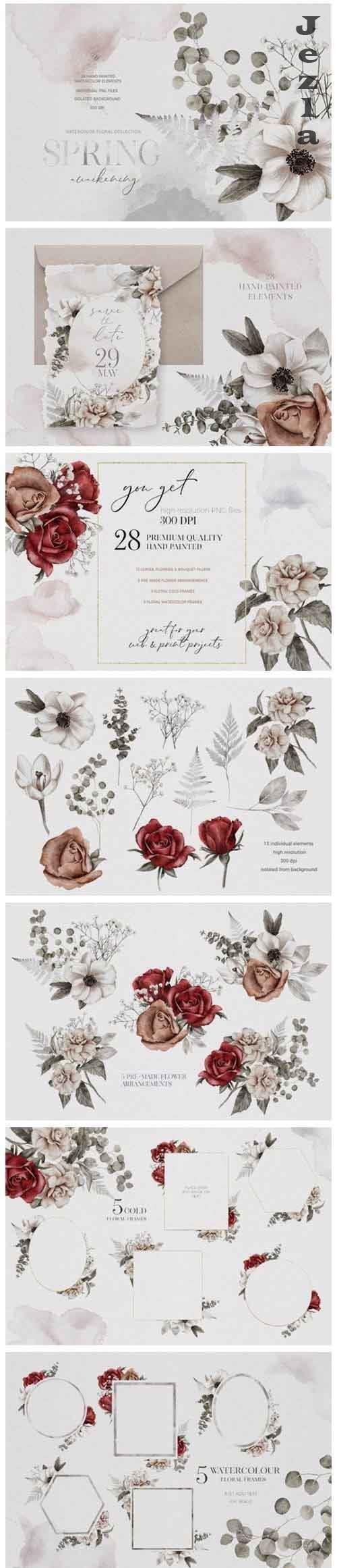 Watercolor Flowers Arrangement Wedding Bouquet Creator PNG - 1098591