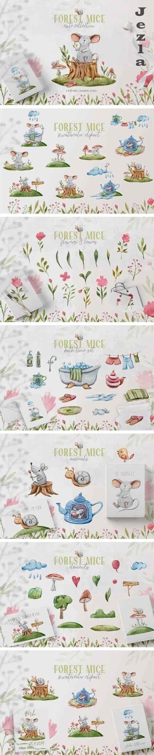 Watercolor cute mice clipart. Forest cartoon mouse and snail - 1058061