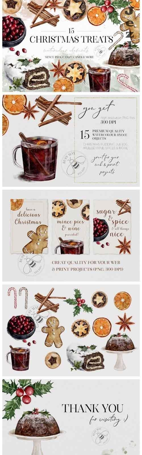 Watercolor Christmas Treats Festive Food Illustration Cake - 1026782