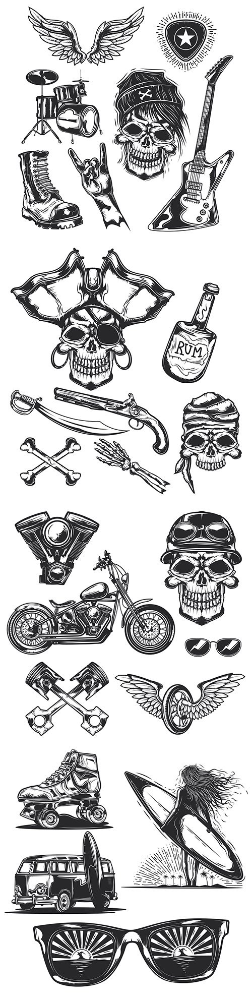 Skull, pirates and biker with motorcycle grunge set elements