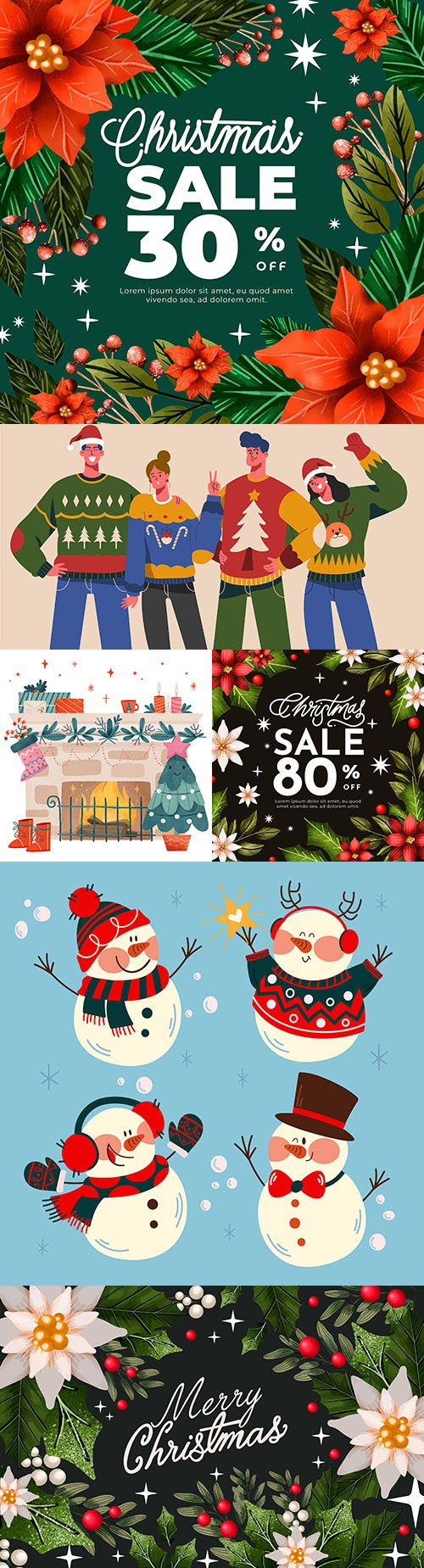 Christmas special sales and cute characters flat design