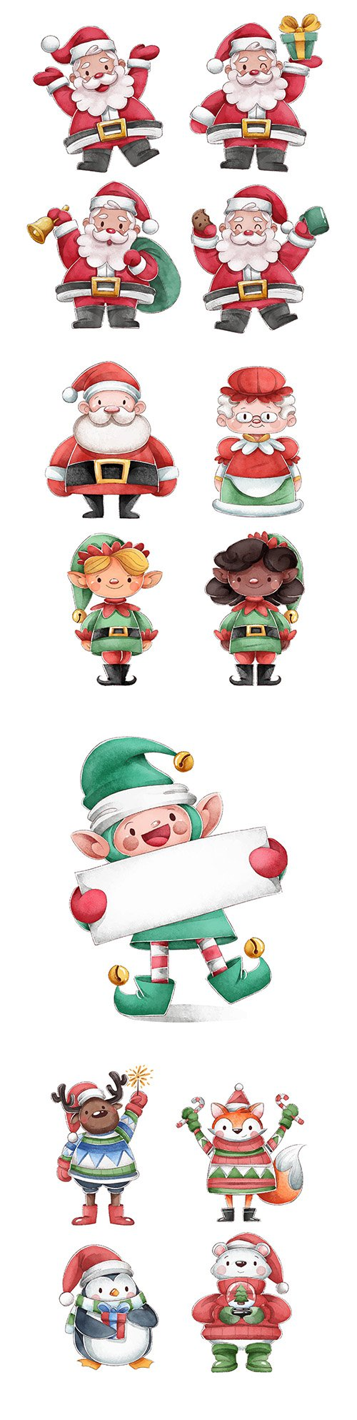 Funny Santa Claus and his friends watercolor illustrations