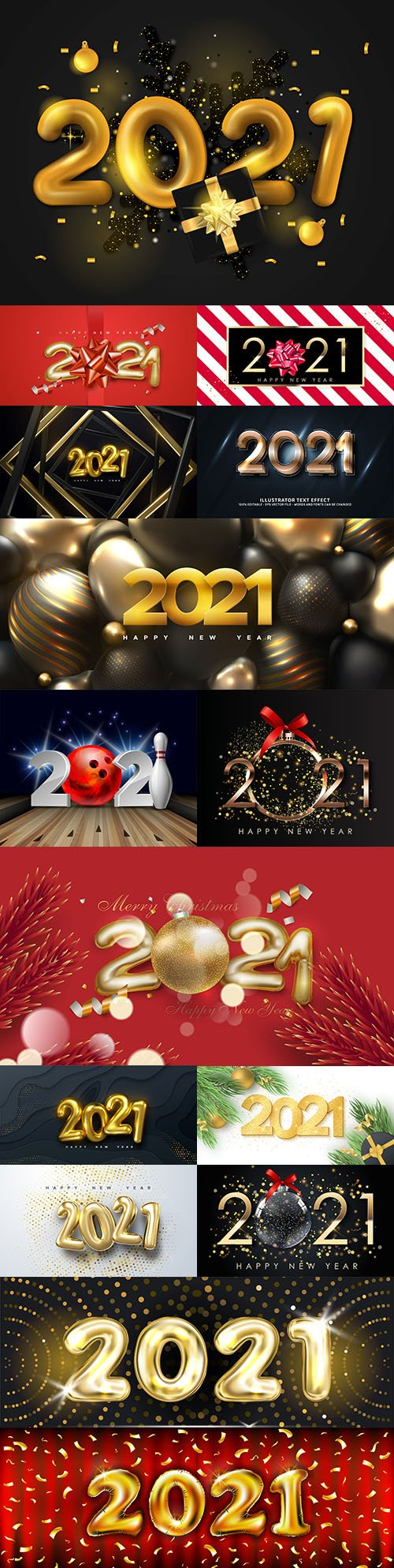 2021 New Year's illustrations Festive design inscription 5