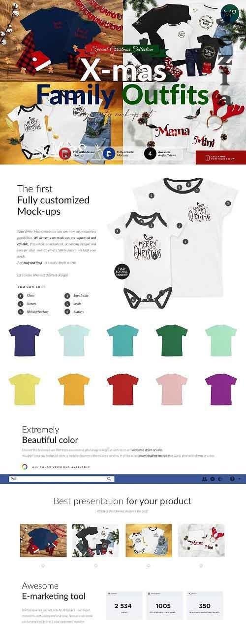 CreativeMarket - Christmas Family T-shirts Mock-ups 5617062