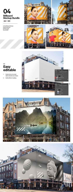 CreativeMarket - 4x Billboard Construction Mockups 5635787
