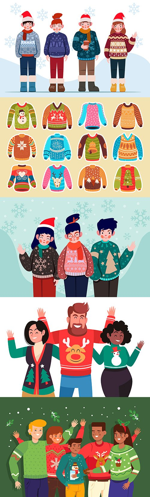 Happy people in knitted sweater with Christmas pattern