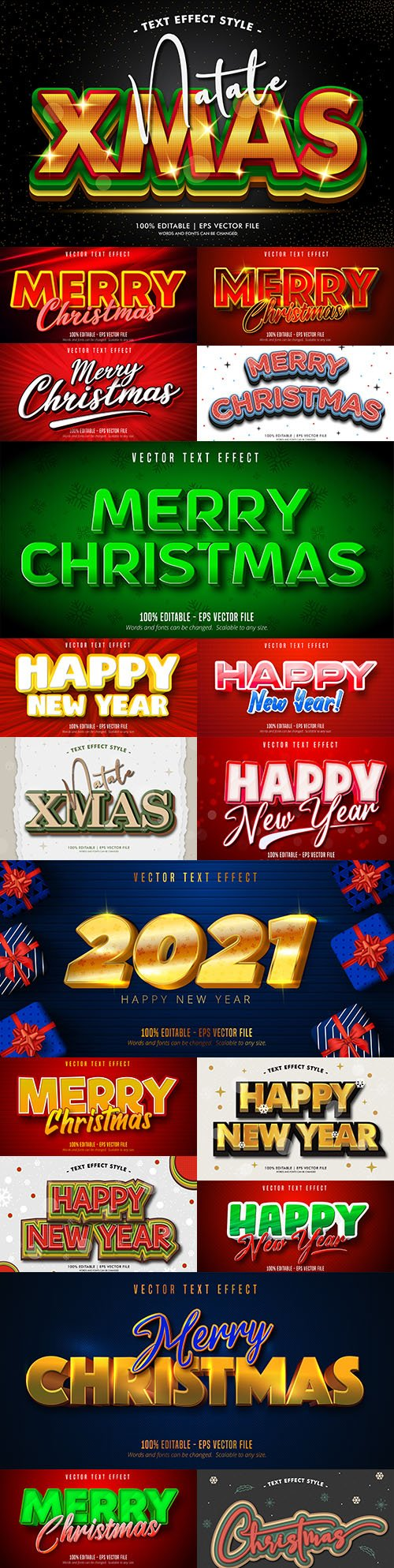 Merry Christmas editable font effect text collection 5