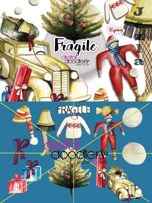 Fragile Watercolor Xmas Graphics - 167784