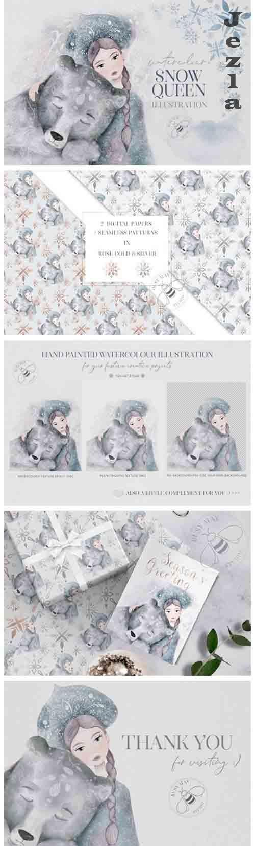 Watercolor Winter Christmas Snow Queen Illustration Bear PNG - 1057325