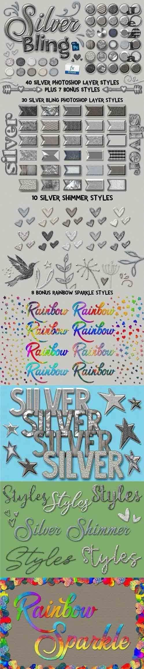 CreativeMarket - Silver Bling PHSP Layer Styles 5115002