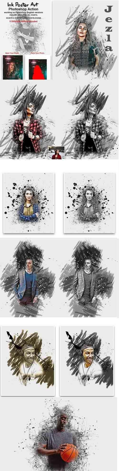 CreativeMarket - Ink Poster Art Photoshop Action 5435418