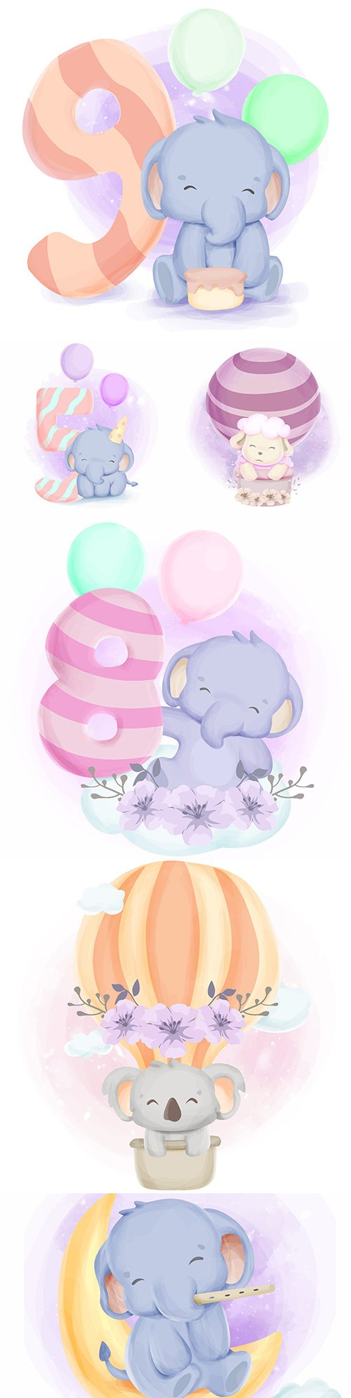 Cute elephant with balls and numbers watercolor illustration
