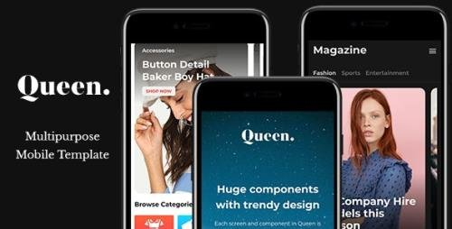 ThemeForest - Queen v1.0.0 - Multiconcept HTML Mobile App Template - 22634525