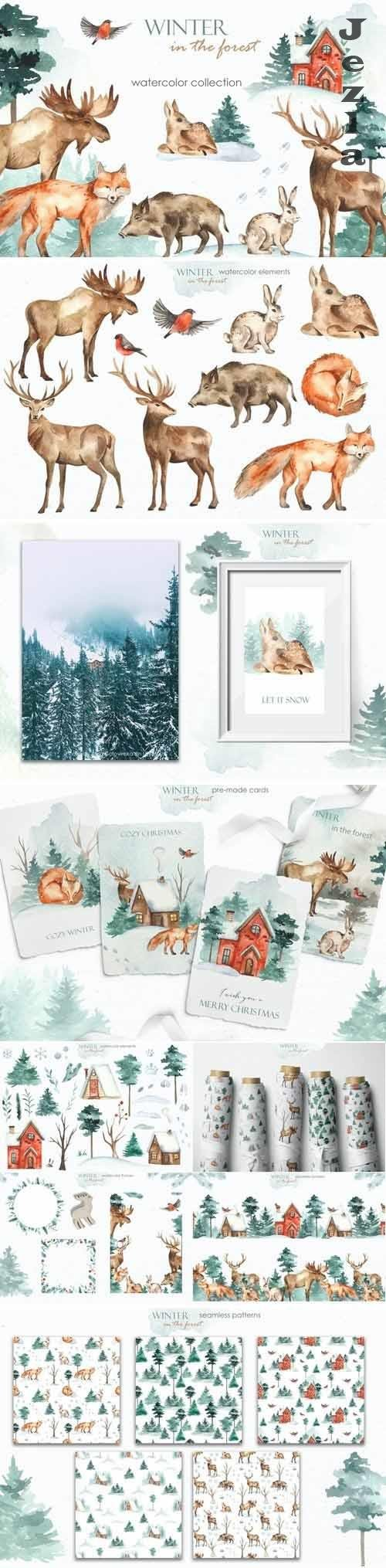 Winter in the forest watercolor - 5634801