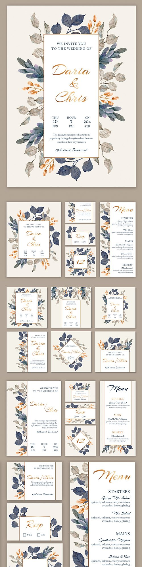 Floral wedding stationery and instagram post design template