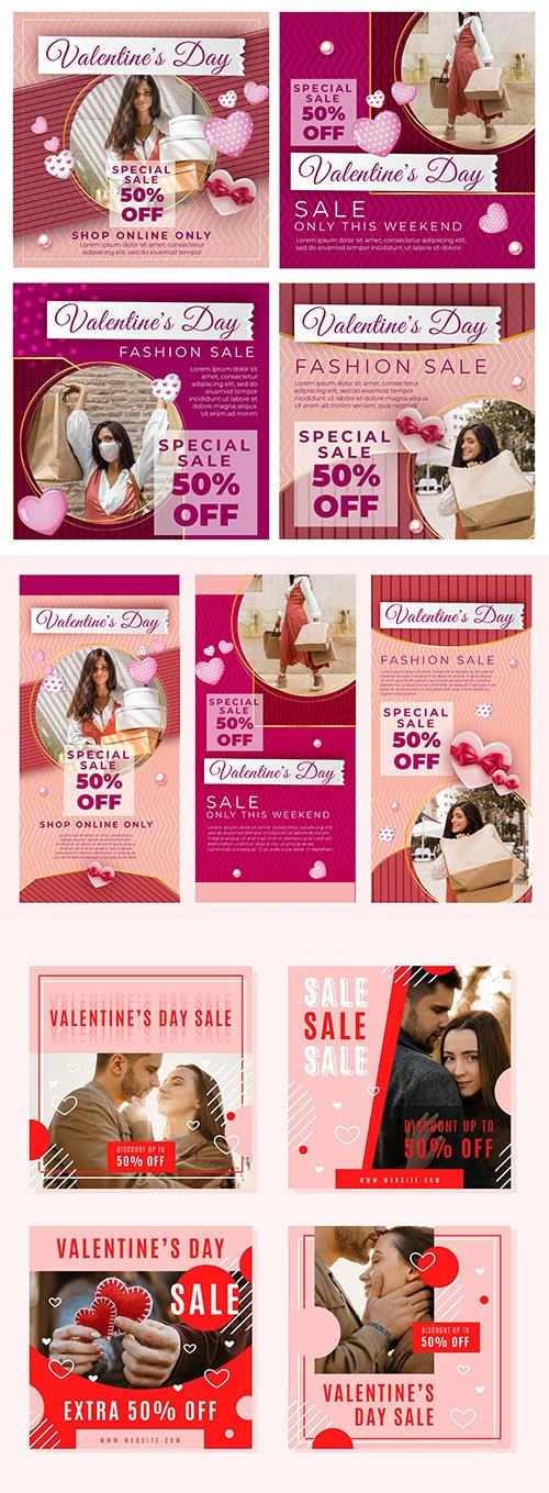 Collection of Instagram posts for Valentine's Day design