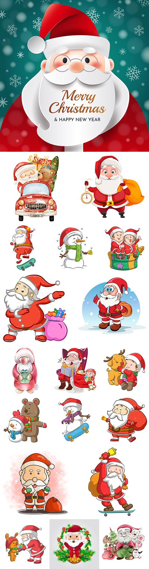 Santa Claus funny character with Christmas gift illustrations collection