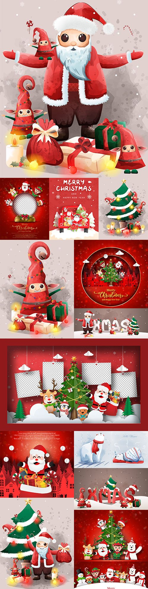 Santa Claus and cute elf Christmas Eve friends with gifts