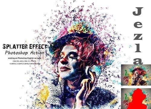 CreativeMarket - Splatter Effect Photoshop Action 5409262