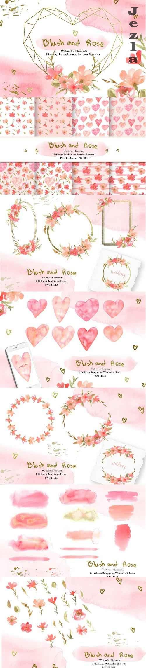 Watercolor Blush and Rose Collection - 1110740