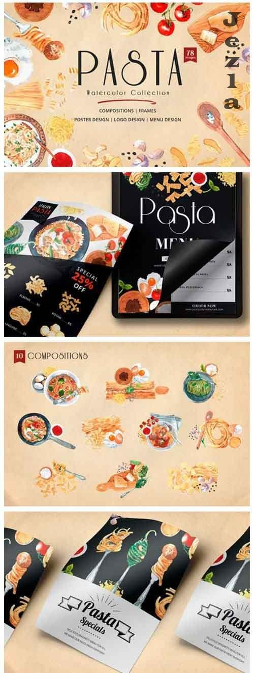 Pasta Recipe and Dishes Watercolor - 5713067