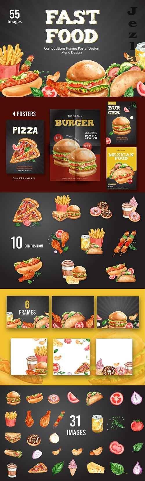 Fast Food and dessert sweet bake Watercolor Illustration set - 5712951
