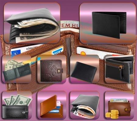 Клипарты для фотошопа - Бумажники с валютой
