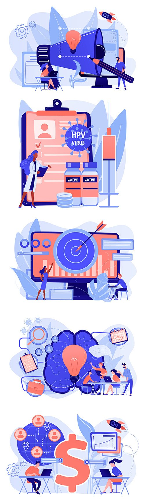 Business team analysis and planning flat design illustration