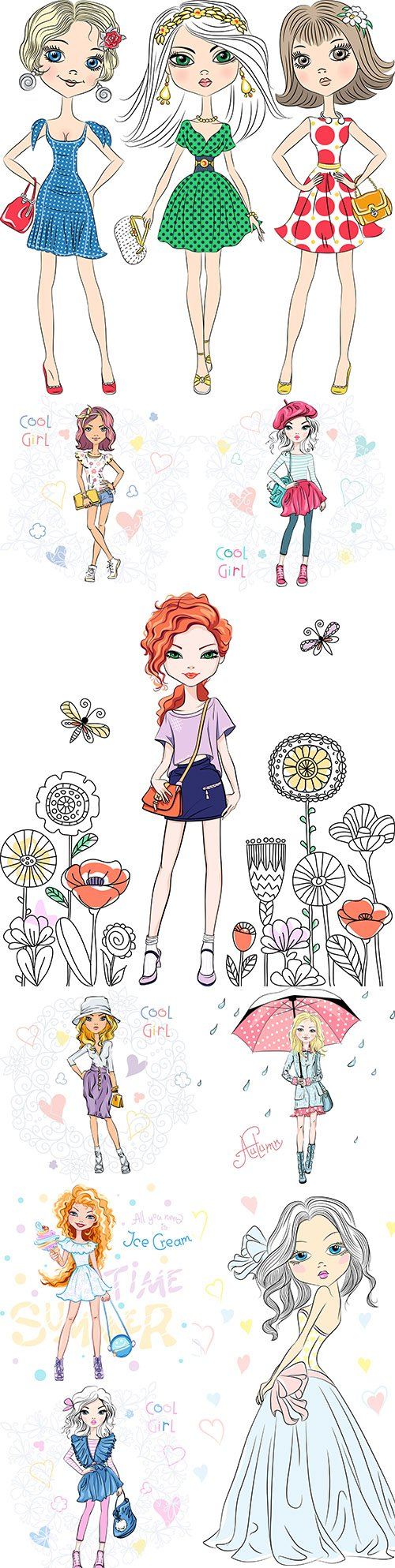 Fashion girl in different stylish clothes with accessories