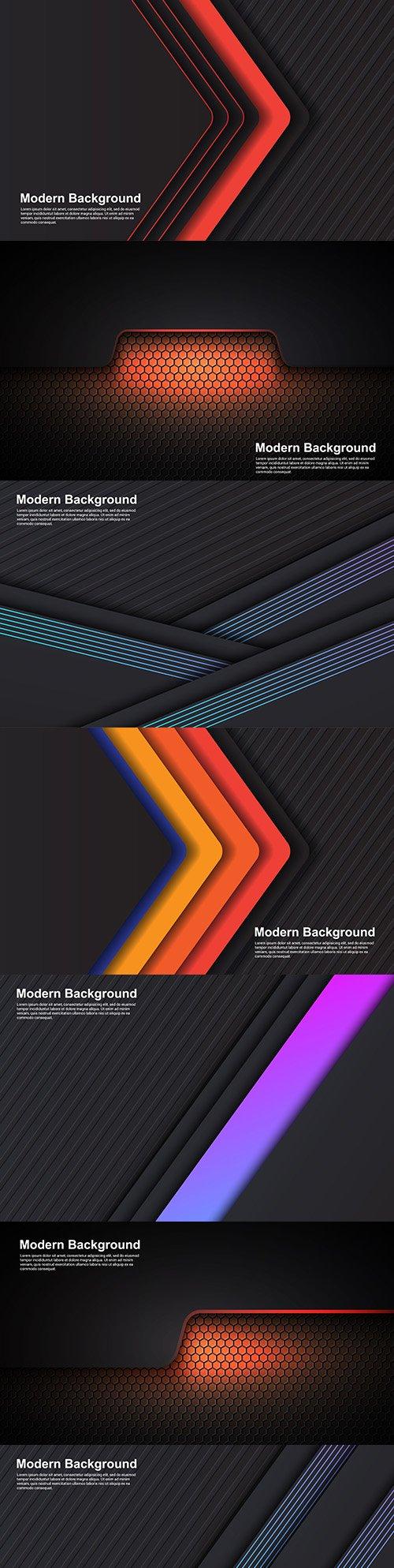 Modern design dark background with colored elements