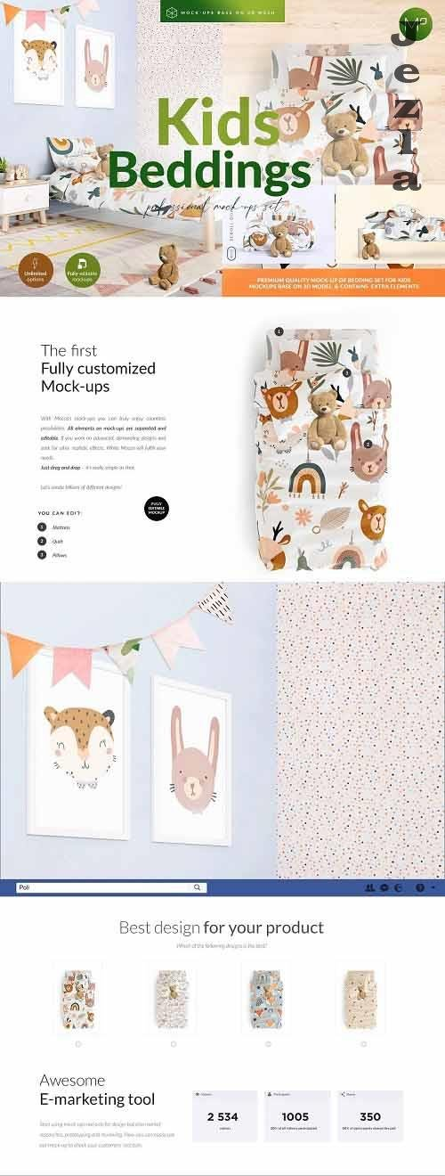 CreativeMarket - Kids Beddings Mock-ups Set on 3D 5579996