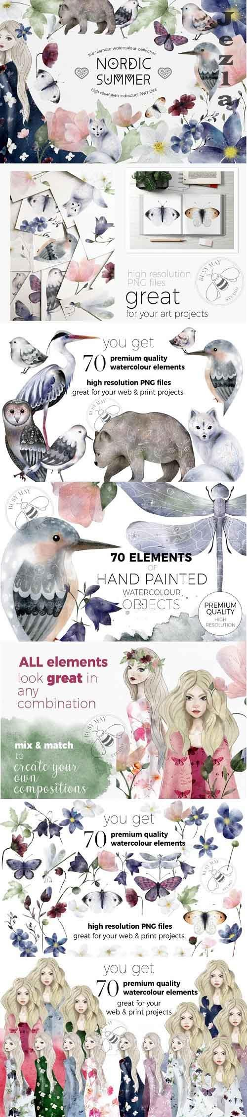 Nordic Summer Ultimate Collection Watercolor Animals Florals - 1022907